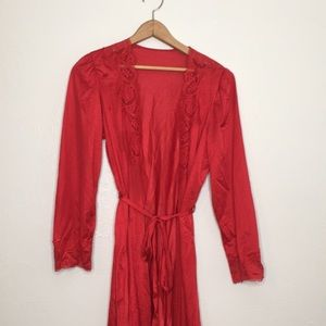 Red silky full length robe with lace trim s